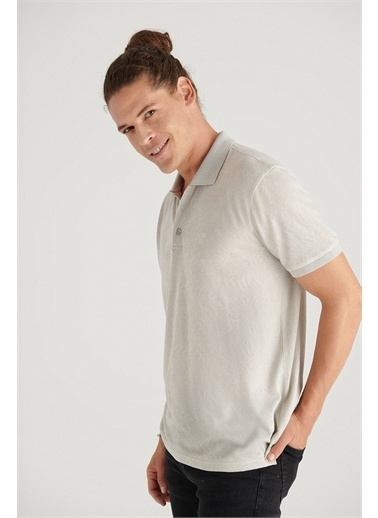 Avva A11Y1207 Polo Yaka Jakarlı Slim Fit T-Shirt A11Y1207 Taş